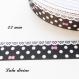 Ruban gros grain noir à pois & effet dentelle blanc - noeud rose de 22 mm vendu au mètre