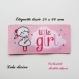 Etiquette tissée  - little girl -  28 x 60 mm, rose nuage petite fille