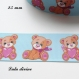 Ruban gros grain bleu clair ourson / teddy beige tient coeur entre les mains de 25 mm vendu au mètre