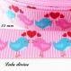 Ruban gros grain rose couple oiseaux rose & bleu de 22 mm vendu au mètre