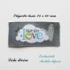 Etiquette tissée  - made with love -  28 x 60 mm, grise nuage