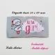 Etiquette tissée  - little girl -  28 x 60 mm, grise nuage petite fille