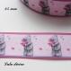 Ruban gros grain rose clair liseré rose ourson/ teddy gris tient fleur de 25 mm vendu au mètre
