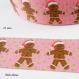 Ruban gros grain rose à pois vert bonhomme en pain d'épice de 25 mm vendu au mètre
