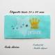 Etiquette tissée  - petit prince -  28 x 60 mm, turquoise couronne