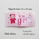 Etiquette tissée  - little girl -  28 x 60 mm, rose nuage poupée