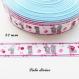 Ruban gros grain blanc liseré bleu & bande rose à nœud ourson teddy de 22 mm vendu au mètre