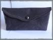 Pochette de sac gris ardoise sobre et chic, doublée coton imprimé