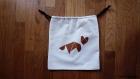 Sac pochon tangram renard. sac de rangement, lingerie, chaussettes, chaussures cousu et peint à la main
