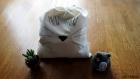 Sac pochon meow, tête de chat. sac de rangement en coton, cousu et peint à la main