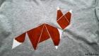 T-shirt tangram renard, peint à la main