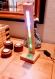 Lampe de table tactile bois et led, chevet, bureau multicolore fait main.
