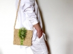 Sac raphia bandoulière beige vert sauvage, sac crochet fait main