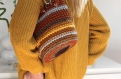 Sac seau au crochet  fait main multicolore (marron, gris, jaune moutard)