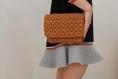 Sac pochette à bandoulière au crochet marron, sac à main boho chic