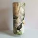 Lampe, originale, chic et moderne à poser, lampe de chevet, luminaire, abat-jour papier peint, motif oiseaux, toucan, tropical