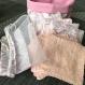 Sac à lingettes & ses 8 lingettes lavables - rose & blanc