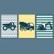 3 affiches enfant, tracteurs, camions, engins de chantiers, déco chambre garçon