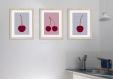 3 affiches cerise, déco cuisine, gris rouge, poster fruit
