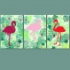 3 affiches exotic flamants roses, décoration, tropical, poster jungle, 20 x 30 cm