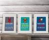 3 affiches superhéros avec citation pour décoration murale, chambre enfant ou salle de bain, cadeau pour garçon, décoration