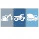 9 affiches garçon enfant, tracteur, chantier, moyen de transport, décoration chambre enfant