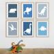 3 affiches enfant dinos, décoration de chambre de garçon, dinosaure, 20 x 30 cm