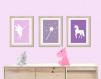 3 affiches enfant licorne et fée, décoration chambre fille rose