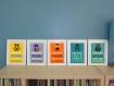 5 affiches superhéros et citation humoristique pour décoration chambre enfant ou salle de bain, citation en français