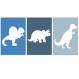 3 affiches dinosaure bleu, 20 x 30 cm, décoration de chambre de garçon, dinos, diplodocus, cadeau garçon