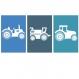 6 affiches tracteurs et engins de chantier pour enfant, décoration chambre garçon, 20 x 30 cm