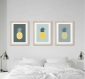 3 affiches ananas gris jaune, style scandinave