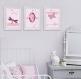 3 grandes affiches fée, grandes affiches, rose, princesse, cadeau pour les filles