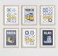 6 affiches sur lisbonne et motif azulejos, carreau de ciment, portugal, affiche bleue, sintra, belem, cadeau pour femmes