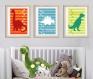 3 affiches dinosaure, a4, décoration chambre de garçon, salle de jeux, dino