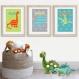 3 affiches dinosaure, poster enfant, 20 x 30 cm décoration de chambre de garçon