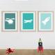 3 affiches enfant, avion, fusée, hélicoptère, moyens de transport, décoration chambre garçon