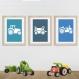 3 affiches tracteurs à la ferme sur fond bleu, chambre enfant, décoration garçon