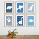 6 affiches dinosaures, enfant, décoration chambre de garçon bébé, dino