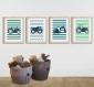 4 affiches tracteurs et engins de chantier pour enfant, rayé, décoration chambre garçon
