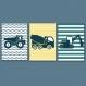6 affiches tracteurs et engins de chantier pour enfant, rayé, décoration garçon, chambre enfant, cadeau garçon