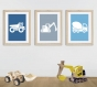 3 affiches enfant avec camions, engins de chantiers, bleu gris, déco chambre garçon