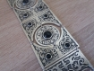 Éblouissant long collier ethnique argenté, collier arménien avec pierres d'onyx noire