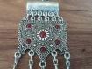 Collier argenté tombant du soleil et de la grenade, collier arménien, collier pendant arménien avec des pierres de grenade