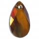 6106 16 co *** 2 pendentifs swarovski goutte 16mm crystal copper