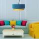 Suspension bloom luminaires bleu canard et jaune moutarde suspendu déco plafonnier design