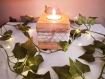 Photophore bougeoir en bois vernis et bande en jute et dentelle, décoartion bohème-chic, mariage champêtre