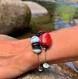 Bracelet en pierres semi-précieuses : larimar et corail bambou