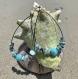 Boucles d'oreilles en pierres semi-précieuses : larimar