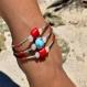 Bracelet en pierres semi-précieuses : larimar, corail bambou et jade